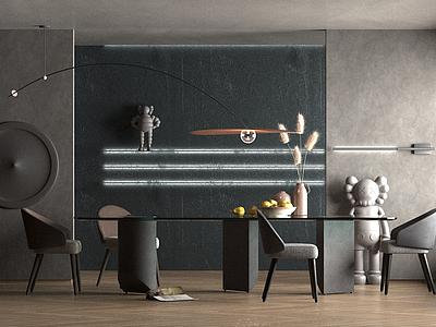 現代風格的餐廳模型3d模型