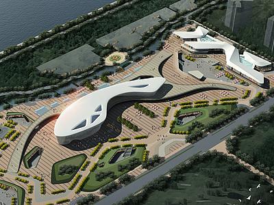 科技館文化館鳥瞰模型3d模型