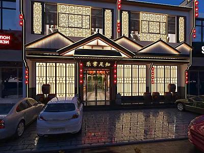 新中式餐廳酒店門頭模型3d模型