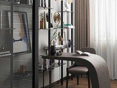 現代輕奢書房模型