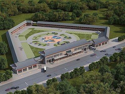 中式古建旅游辦公樓模型3d模型