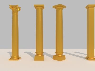 金屬羅馬柱3d模型