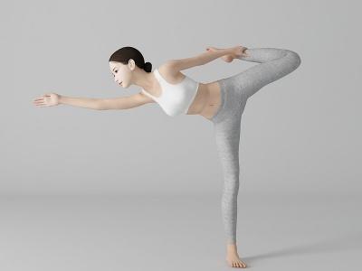 現代風格瑜伽美女人物模型3d模型