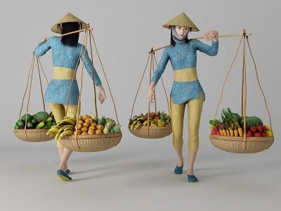 現代風格挑菜美女人物模型3d模型