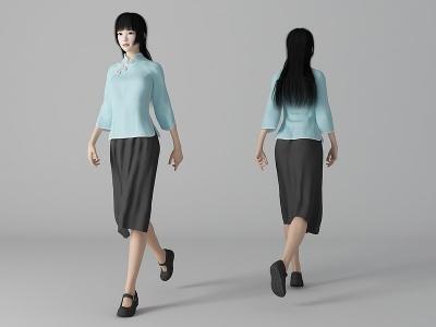 現代風格民國女生美女人物模型3d模型
