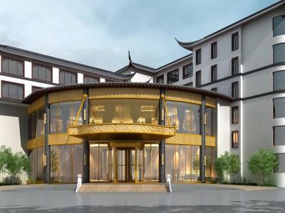 古建中式酒店大門模型3d模型