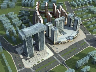 現代玻璃辦公樓模型3d模型