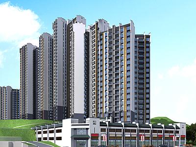 中式住宅商業街模型3d模型