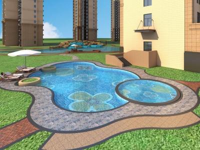 景觀泳池模型3d模型