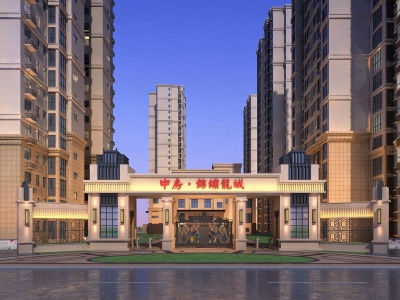 中方小區新古典大門模型3d模型