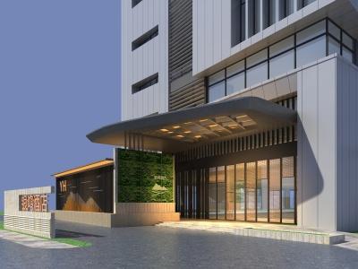 銀鴻酒店大門模型3d模型