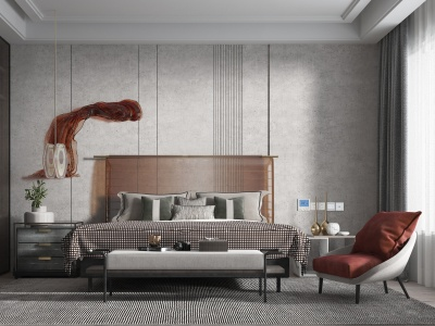 現代簡約風格主臥室父母房模型3d模型