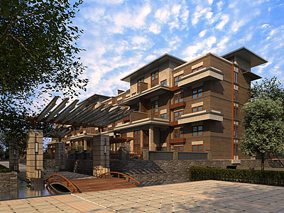 現代花園洋房別墅模型3d模型