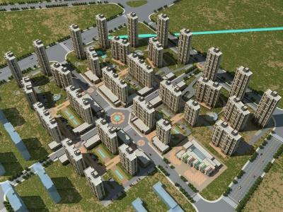 現代住宅樓鳥瞰模型3d模型