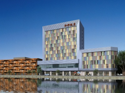 現代辦公樓華僑飯店模型3d模型