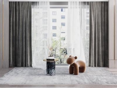 現代窗簾模型3d模型
