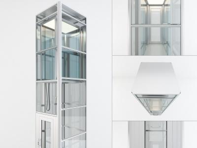 現代觀光升降電梯3d模型
