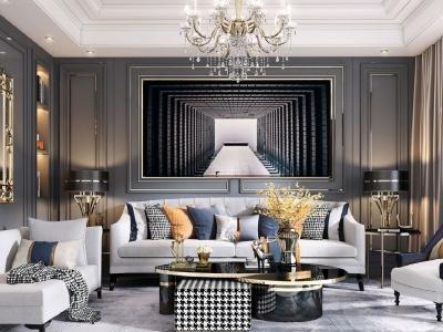 美式輕奢客廳模型3d模型