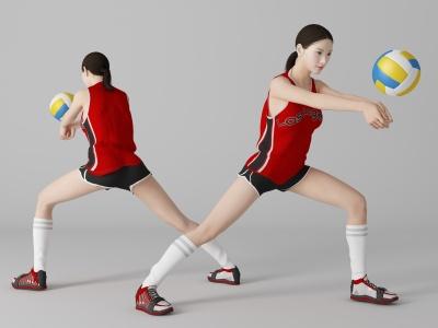 現代風格排球美女人物模型3d模型