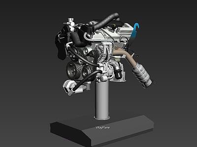 汽車發動機3d模型