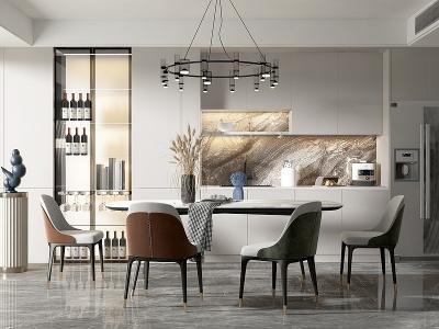 現代餐廳餐桌椅組合模型3d模型