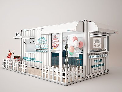 工業風咖啡廳3d模型