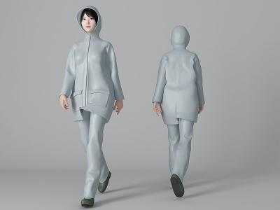 雨衣女人模型3d模型