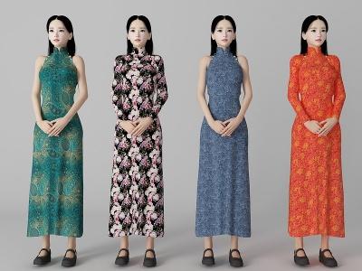 旗袍女人模型3d模型