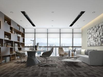 現代風辦公室模型3d模型