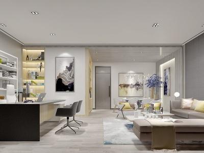 現代風格的辦公室模型3d模型