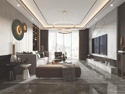 現代客廳餐廳3d模型