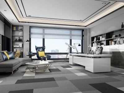 現代風格的總經理辦公室模型3d模型