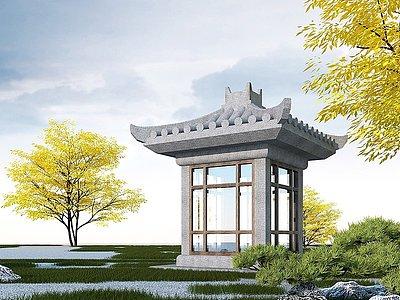 中式石雕亭子模型3d模型