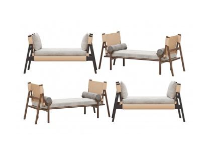 現代床尾凳貴妃椅組合模型3d模型
