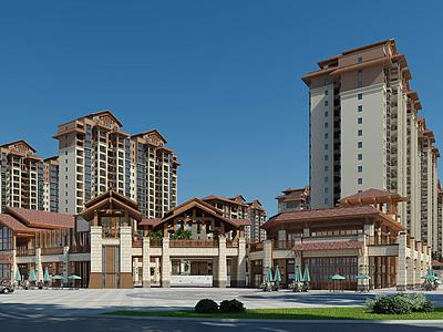 高檔小區住宅樓模型3d模型