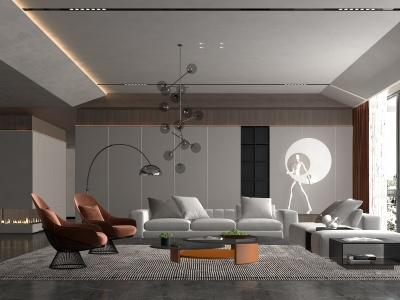 現代風格的客廳模型3d模型
