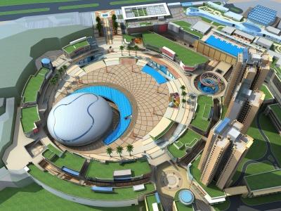 現代商業廣場集中商業模型3d模型
