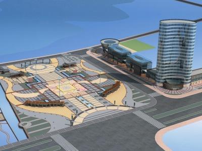 廣場廊架模型3d模型
