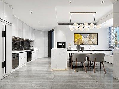 現代開放式廚房餐廳模型3d模型