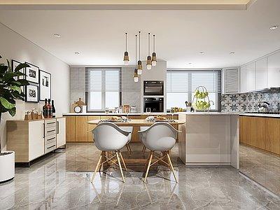 開放式廚房現代餐廳模型3d模型