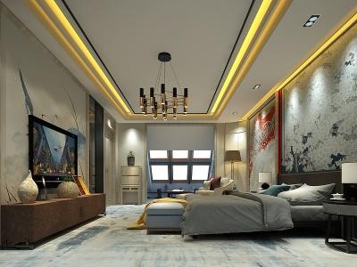 中式風格的酒店客房模型3d模型