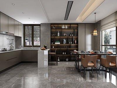 新中式餐廳模型3d模型