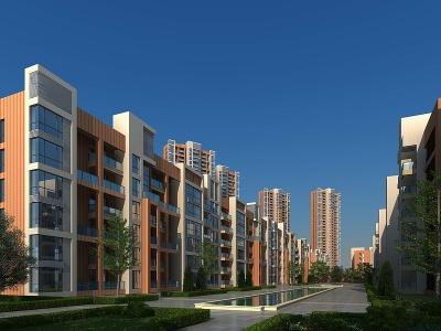 小區住宅樓模型3d模型