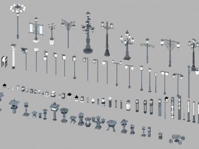3d<font class='myIsRed'>新中式</font>古建路燈模型