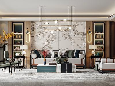 新中式輕奢客廳模型3d模型