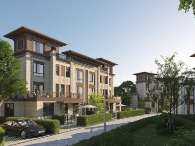 新中式別墅小區模型3d模型