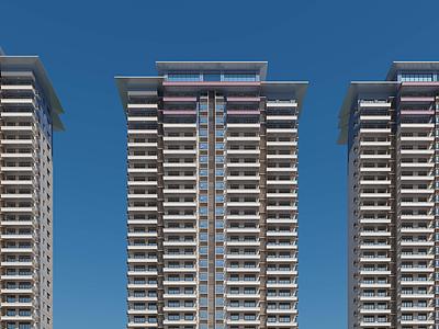 現代高層住宅住宅樓模型3d模型