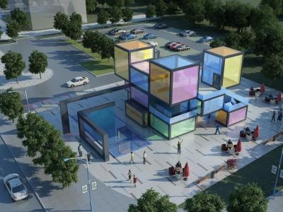 現代網紅建筑售樓會所模型3d模型