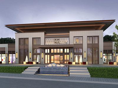 新古典會所售樓處五象院子模型3d模型
