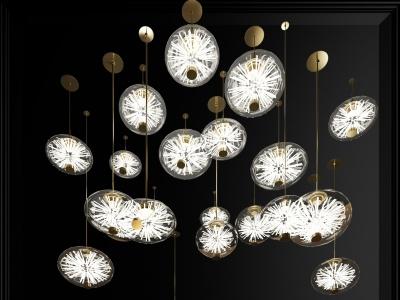 現代玻璃吊燈3d模型